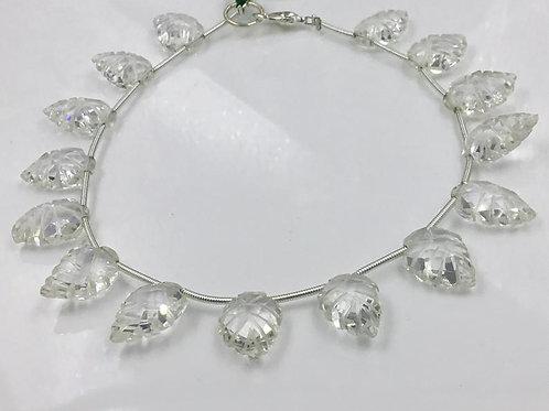 Crystal Carved Leaf Fancy Natural Gemstones Shape Size 9x14 To 10x15 mm