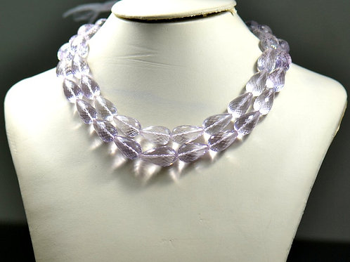 Pink Amethyst - 16'' Faceted Drops 1 Strand Brazil Gemstone  Jewelry Beads