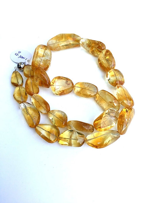 Citrine Smooth Tumbles Natural Gemstone Necklace