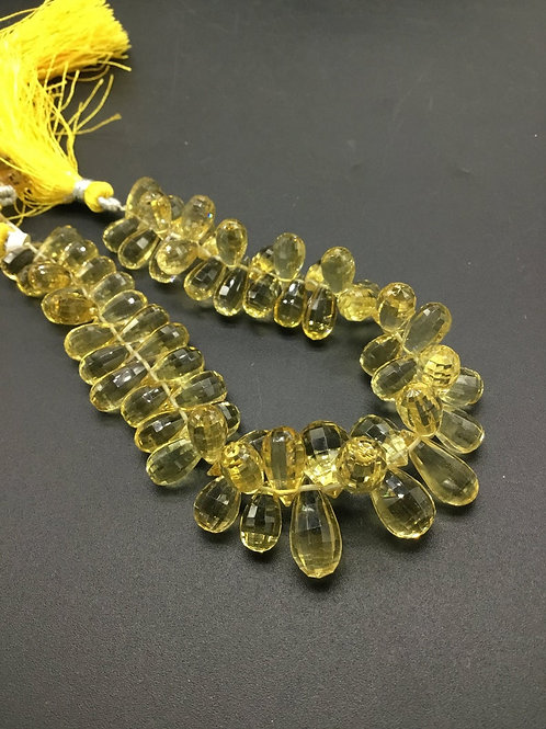 Citrine Drops Faceted Natural gemstone 8'' Necklace 1 Strand Top Quality