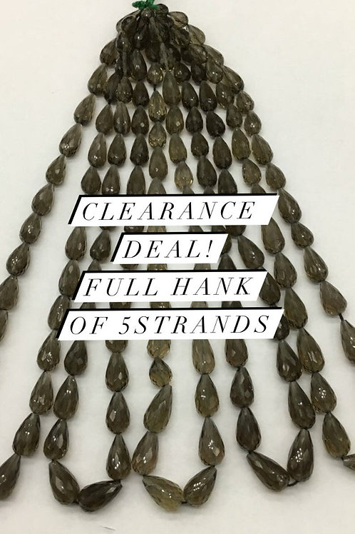 Closeout Sale price Smoky Quartz Faceted drops 5 strands full hank wholesale