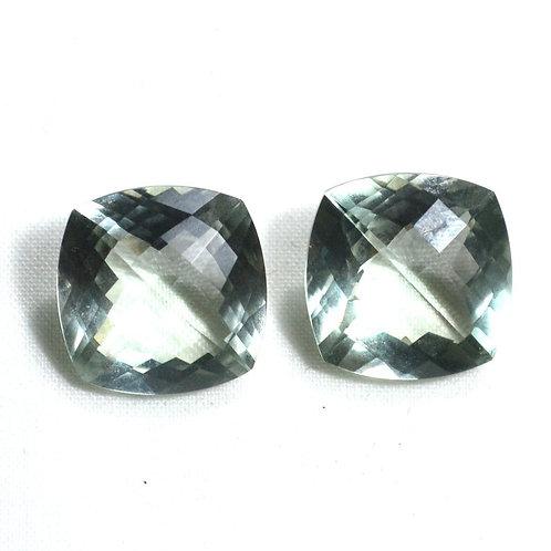 Pair Green Amethyst Gemstone 17.58 ct Faceted Cushion 14*14 mm