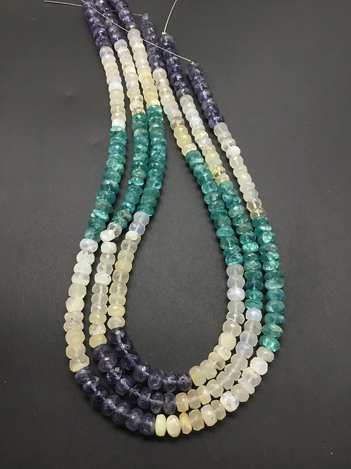 Mixed Gems Faceted Beads Natural Gemstone Necklace 16''