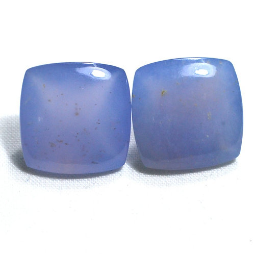 Pair Chalcedony Gemstone 20.50 ct Africa Cushion 14*14 mm