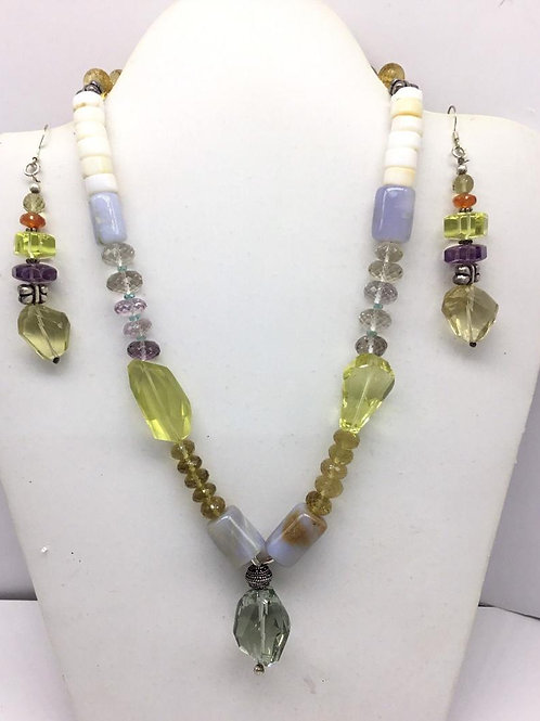 Mixed Gems Multiple Gemstone Beaded necklace with earrings and sterling silver