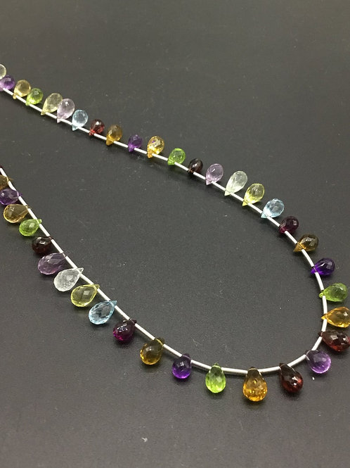Mixed Gems 16 '' Faceted Drops 100 % Natural Gemstone 65.60 Ct Top Quality