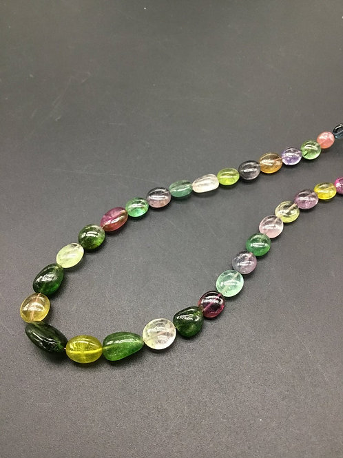 Tourmaline Multi Plain Tumble Natural Gemstone Necklace 12'' Plain Tourmaline