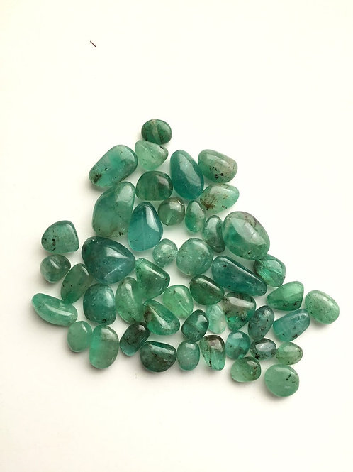 Emerald Tumble Natural Emerald loose gemstone drilled 23pieces 130carats