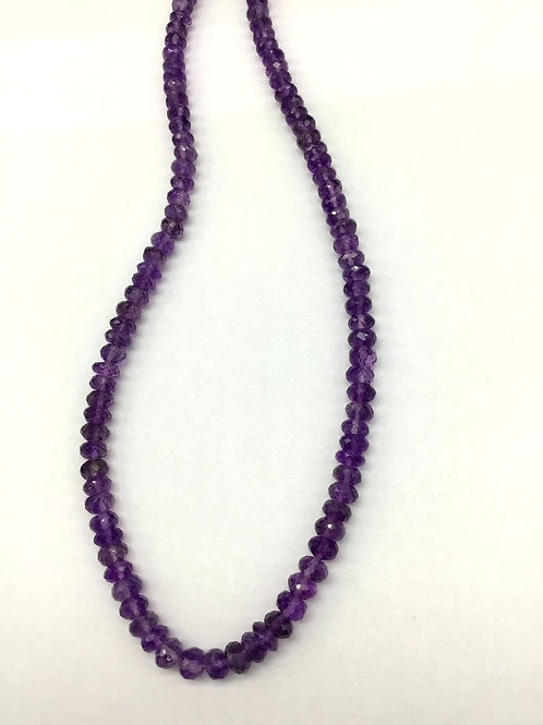 Amethyst 18 '' Faceted Beads 1 Strand Natural Gemstone Necklace 128.30 Ct