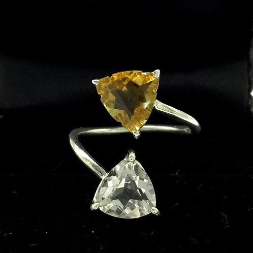 Natural Crystal + Citrine Trillion Valentines Ring in 925 Sterling Silver