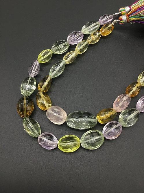 Semi Multi Precious 8 '' Checker Cut 100 % Natural Gemstone Necklace 94 Ct