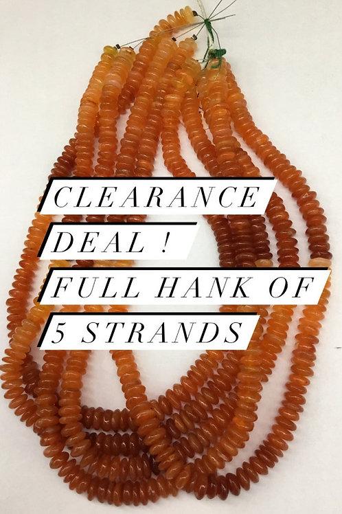 Closeout Sale price Carnelian Plain Tyre 5 strands full hank wholesale closeout