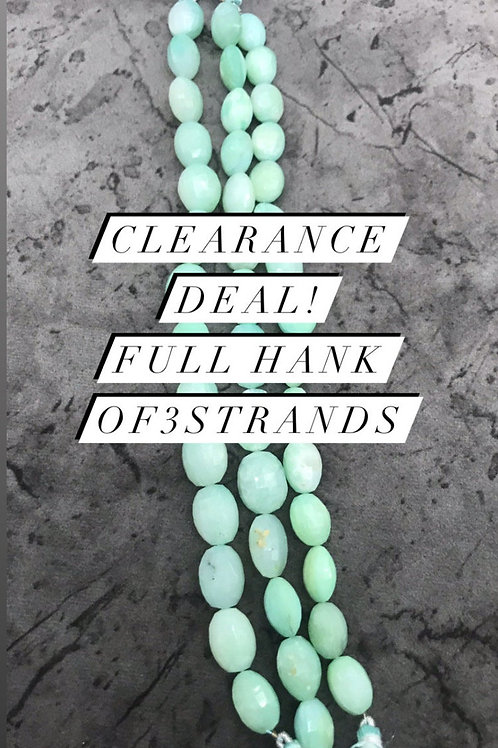 Closeout Sale Blue Opal Faceted Oval 3 strands full hank wholesale closeout deal
