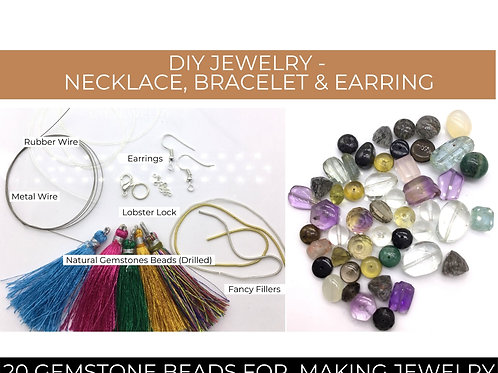 DIY Jewelry Making from Natural Gemstones Beads 50 pieces