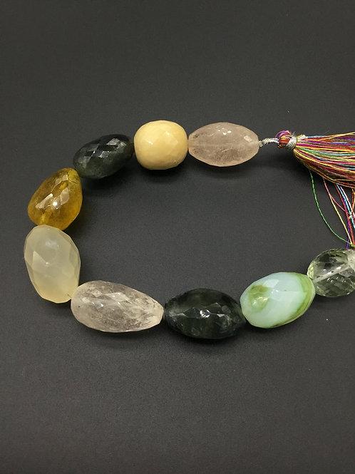 Multiple Semi Precious Gemstones 8 Faceted Tumble Natural gemstone Necklace