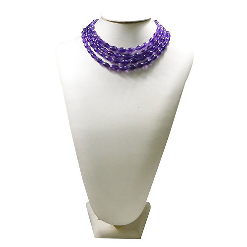 Amethyst - 16'' Africa Faceted Oval 1 Strand Gemstone  Jewelry Beads Handmade
