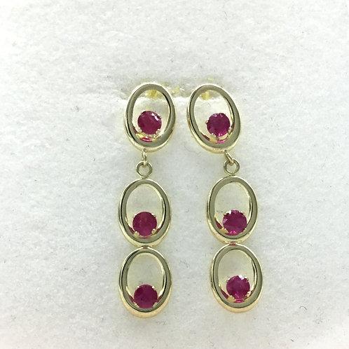 Beautiful RUBY Earrings in 14KT GOLD size3.50MM 6.10carat Gold Jewelry