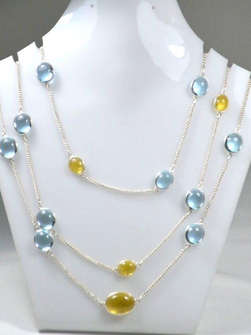 925 Sterling Silver Blue Topaz +Tourmaline Silver Chain 42 ''Plain Mix 33.48 G.M