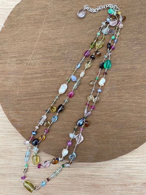 Silver Jewellery 925 Sterling Silver 27'' Semi Multi Gemstone Silver Chain