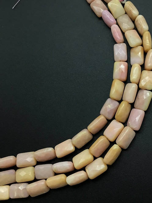 peru Pink Opal Chicklet Faceted Rectangle 8'inch strand Peru Opal