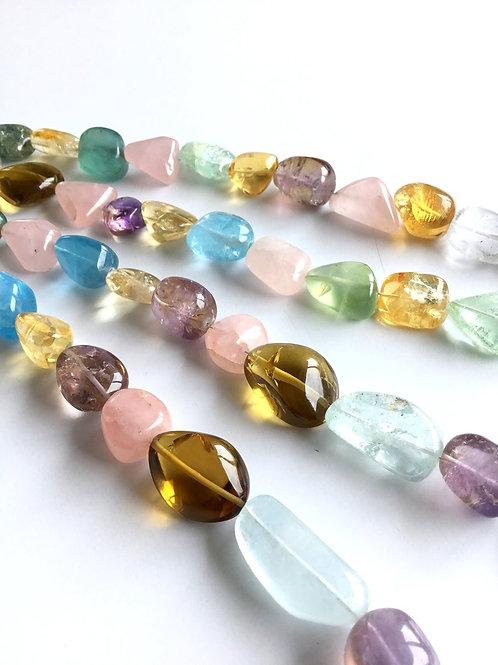 FULL HANK !! Multiple Mixed Gems Plain Tumble 4 Strand Natural Gemstone