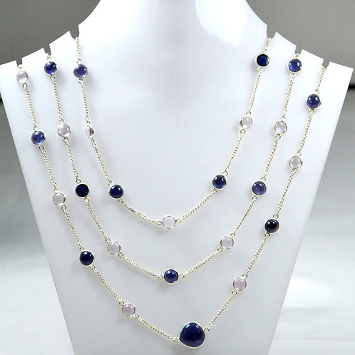 Iolite + Pink Amethyst 42 '' - 925 Sterling Silver Chain Necklace Natural