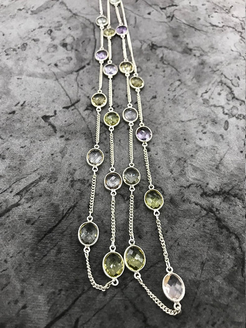 "SILVER JEWELERY CHAIN Necklace 44""Pink Amethyst,Lemon Quartz ,Green Amethyst"