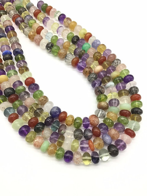 Mixed Gems 16 '' Gemstones Plain Beads 1strand 250carats size-8to10MM Natural