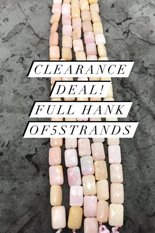Closeout Sale Pink Opal Faceted Bagutte 5 strands full hank wholesale closeout