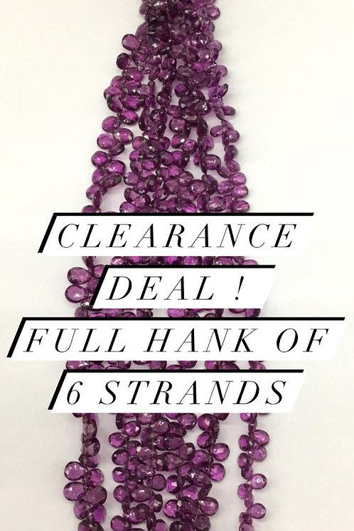 Closeout Sale price Purple Garnet Faceted Almond 6 strands full hank wholesale