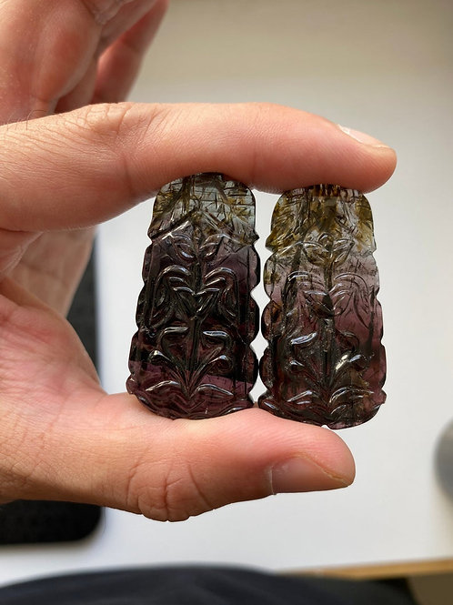 Watermelon tourmaline carving pairs. Bi color tourmaline carving
