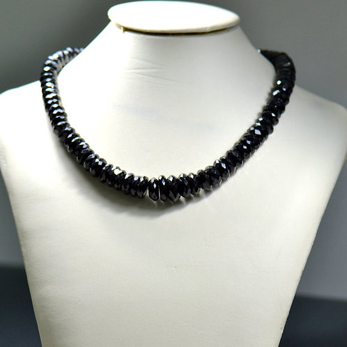 Black Spinal ! - 16'' Faceted Beads 1 Strand Gemstone  Jewelry Beads