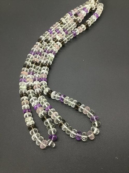 Multi Quartz 16 '' Faceted Beads ( smoky, rose quartz) 1 Strand Natural Gemstone