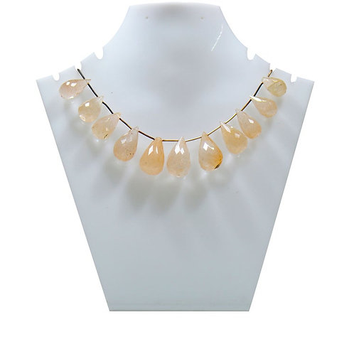 Rutile Beautiful Necklace - 8'' Brazil Faceted Pear drop Gemstone 1 Strand