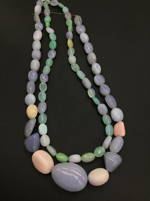 Chalcedony+Opal Semi Multi Plain Tumble Natural Gemstone 16'' Gemstone necklace