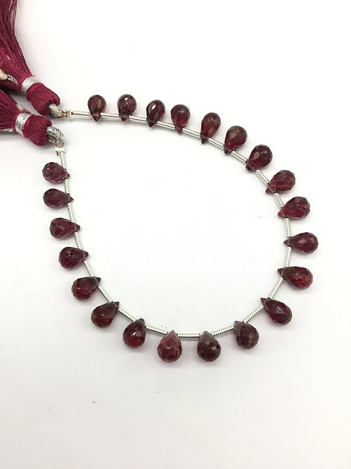 Garnet drops 7 '' Faceted Drops Gemstone necklace 40 Ct Approx Top Drops