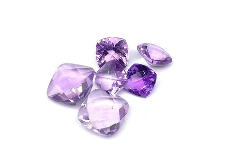 Pink Amethyst 4.45 CT. Gemstone 6 PCS. Faceted Cushion  Handmade Natural
