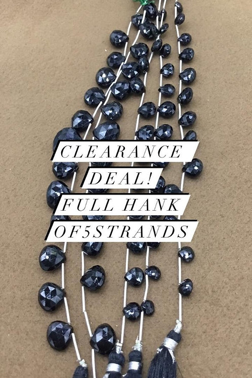 Closeout Sale price Black Spinel Faceted Heart 5 strands full hank wholesale