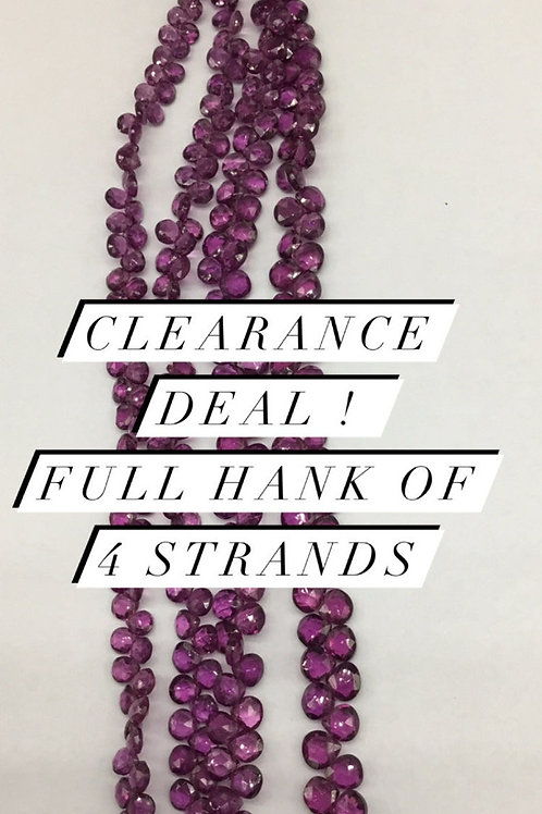 Closeout Sale price Purple Garnet Faceted Pear 4strands full hank wholesale