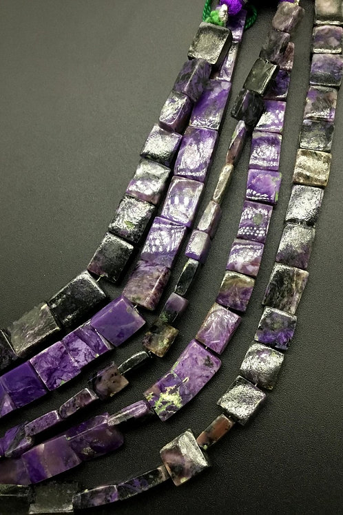 Charoite 8 '' Chiclets Shape 1 Strand Natural Gemstone Necklace Beads 102 Ct