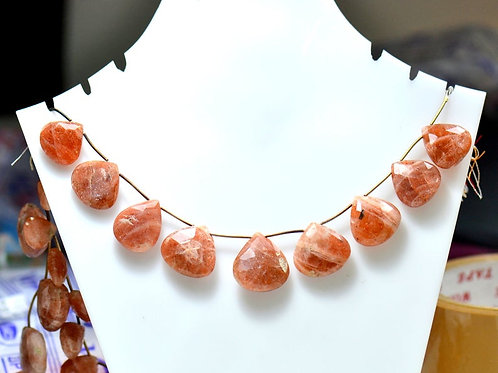 Sunstone - 8'' Africa Faceted Pear 1 Strand Gemstone Jewelry Beads