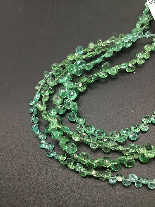 Green Apatite Pear Faceted Natural Gemstone 8'' Necklace 1 Strand Gemstone