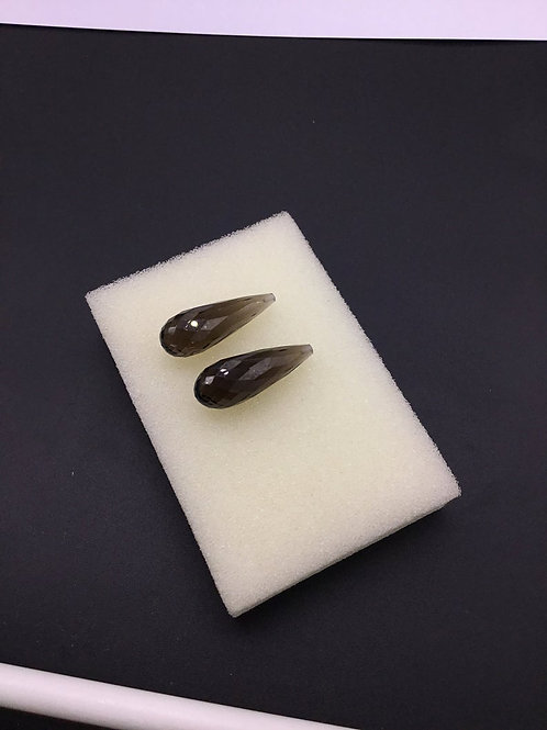 Smoky Quartz Faceted Drops 2 Pieces ( 1 Pair Set ) Top Quality Pair Cut