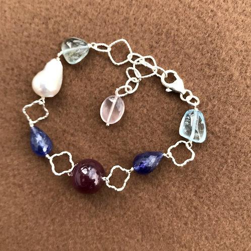 Silver Jewellery 925 Sterling Silver 9'' Semi Multi Gemstone Silver Bracelet