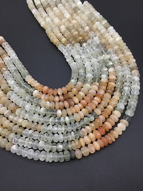 Multi Moonstone Faceted Shaded Beads 1strand 181carats size-7to9MM Natural