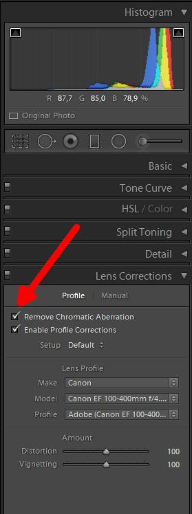 Lightroom - Lens and Chromatic Abberation Correction