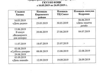 График работы мобильного центра крови ГКУЗ КО КОЦК                                 с 16.05.2019 по 2