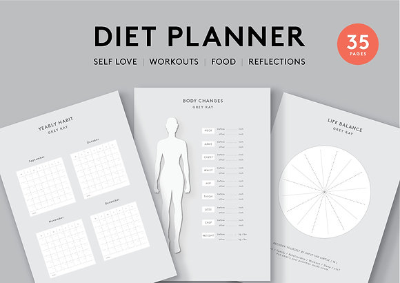 """Diet & Self Love"" Printable Planner"