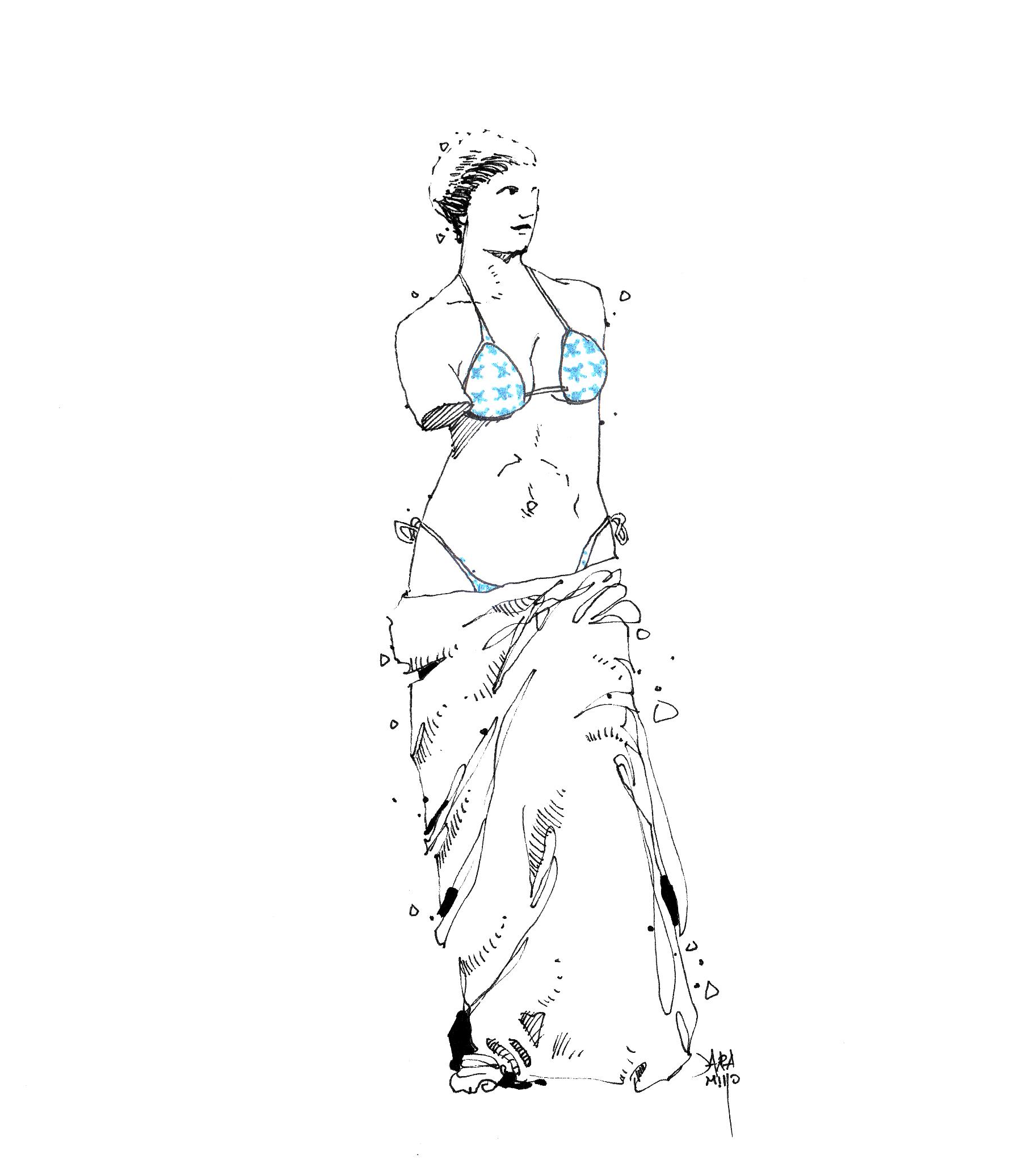 La venus de milo en traje de baño