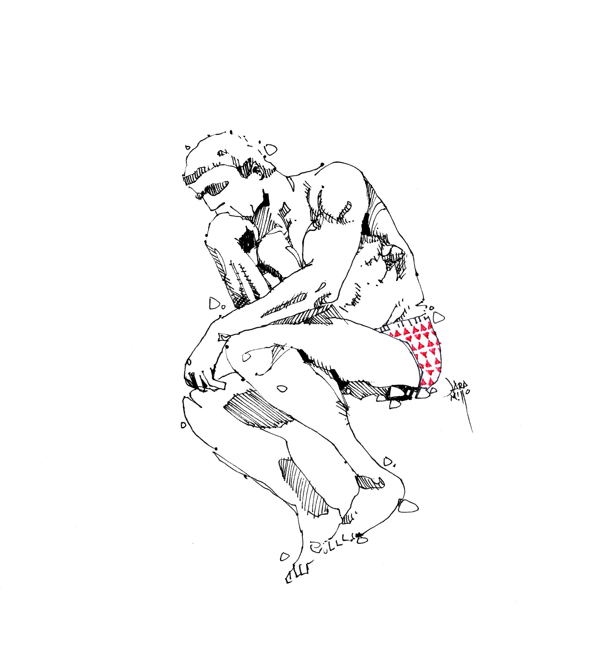 El Rodin el pensador en calzones